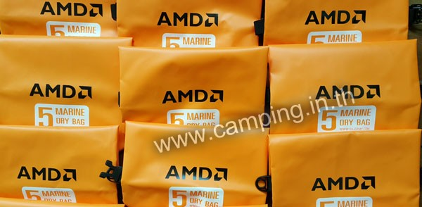 สกรีนโลโก้ กระเป๋ากันน้ำ MarineDry Bag ขนาด 5 ลิตร สีส้ม ของ AMD