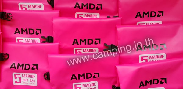 สกรีนโลโก้ กระเป๋ากันน้ำ Marine Dry Bag ขนาด 5 ลิตร สีชมพู ของ AMD