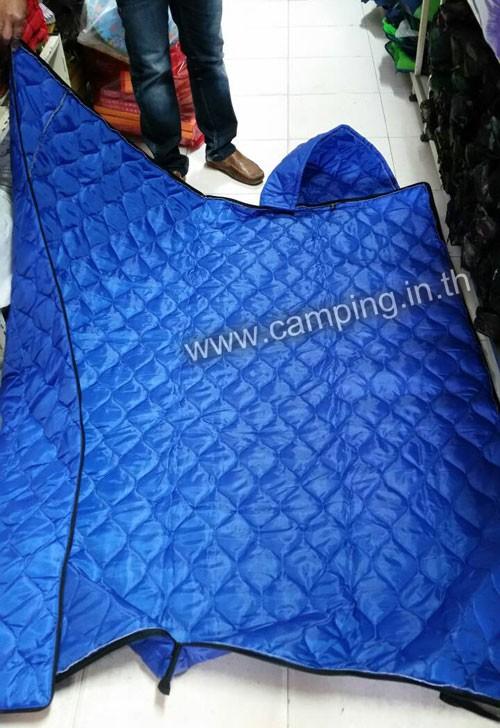 ถุงนอนราคาถูก รุ่น CL250 ขนาด 250 กรัม มีฮู้ด กางใช้แบบผ้าห่ม